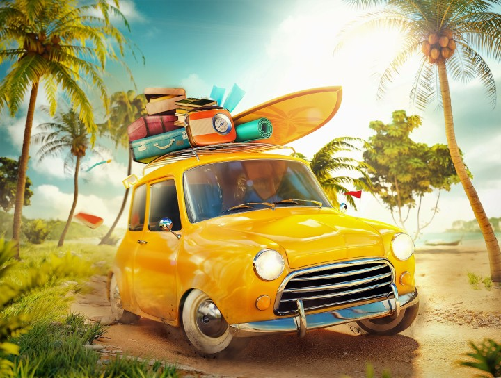 Funny retro car with surfboard and suitcases on a beach with palms. Unusual summer travel illustration